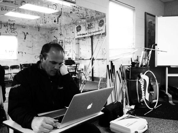 David Orr at his Buies Creek, N.C., putting studio