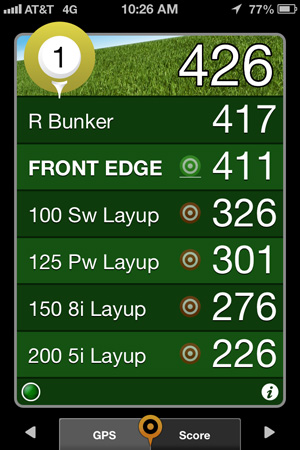 Golfshot GPS Screen