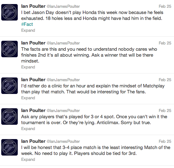 Ian Poulter's Match Play Tweets