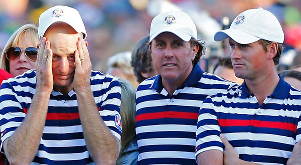 Jim Furyk, Phil Mickelson and Webb Simpson at the 2012 Ryder Cup