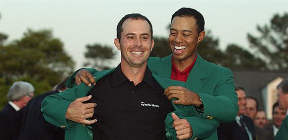 Mike Weir and Tiger Woods at the 2003 Green Jacket Ceremony