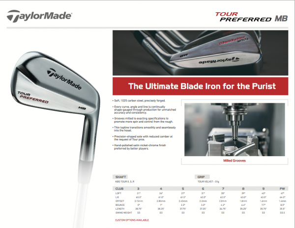 TaylorMade Tour Preferred MB Specs