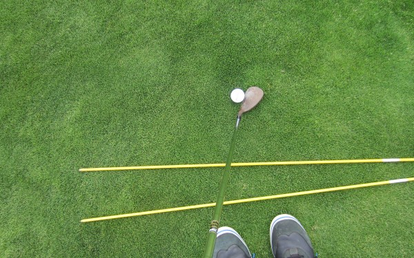 To add/pronounce bounce, note how the club face is now pointing to 1pm.  Also note the forward shaft lean.
