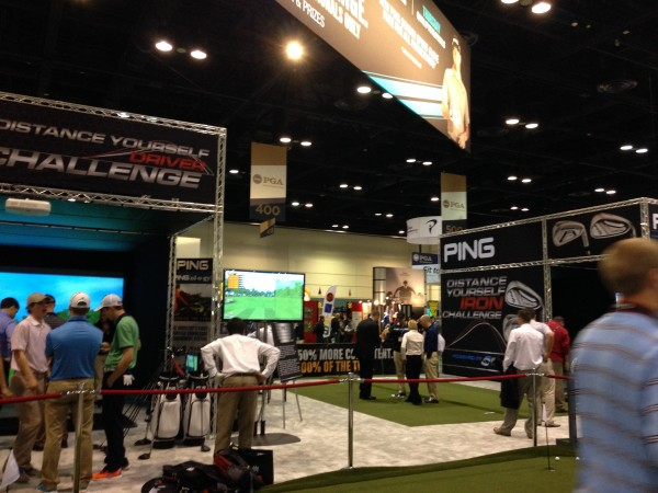 The more open-air, easy-to-walk-through PING booth at the 2014 PGA Merchandise Show.
