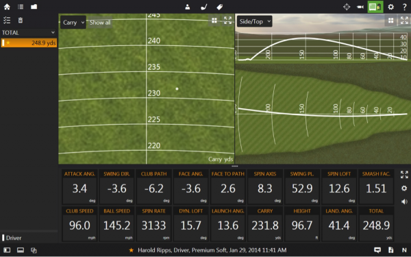 metalwood trackman screen