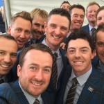 The European team were in relaxed mood as they posed for a selfie before the opening ceremony
