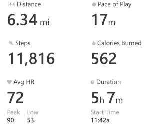 A look at my fitness stats from the Micosoft Band app after one round
