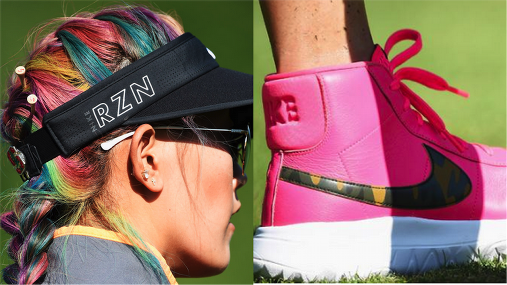 sports shoes bd7a6 fc9a8 Michelle Wie s pink Nike Blazer golf shoes and rainbow hair
