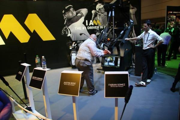 A golfer tries Sergio Garcia's swing.