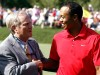 Tiger Woods of the U.S. is congratulated by Jack Nicklaus after his final round of the Memorial Tournament at Muirfield Village Golf Club in Dublin