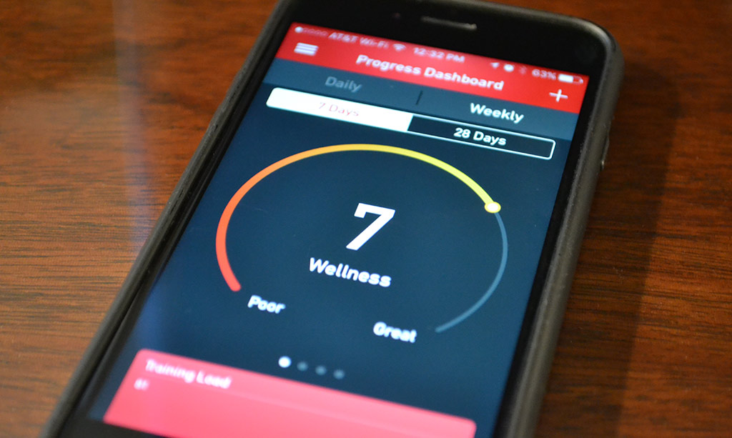 GolfFit App Wellness Screen