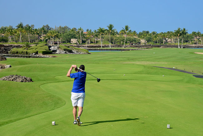 Teeing off on the South course at the Mauna Lani.  Photo by Matt Kartozian.