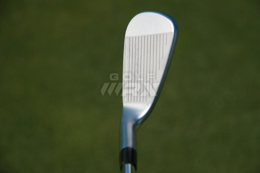 Slightly shorter grooves give the iBlade irons a more compact, traditional look at address.