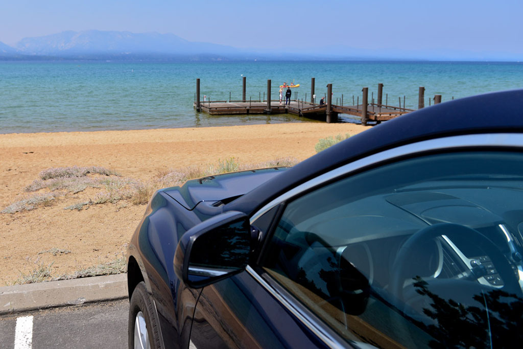 Edgewood Tahoe's parking lot is literally on the beach.