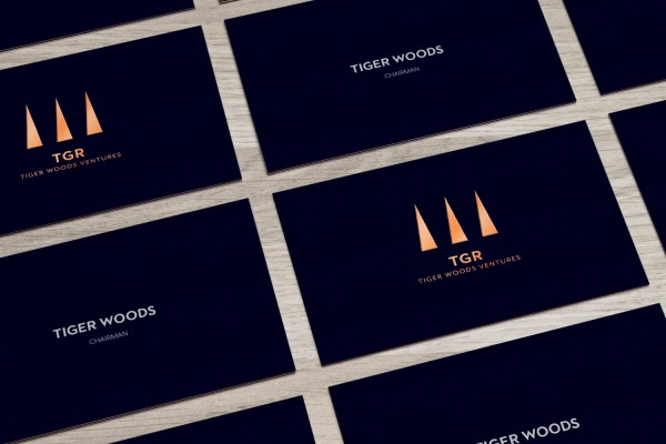 Tiger Woods' TGR business card. (via the Fast Company article)