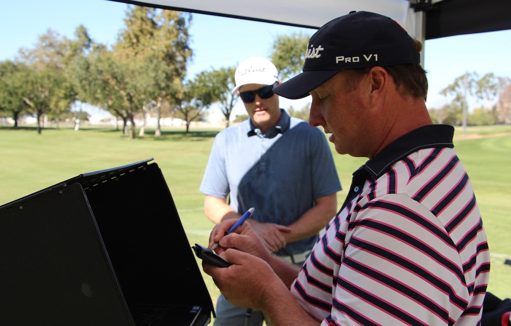 Titleist Master Fitter Dino Antenucci with (right) with Neil McKenna.