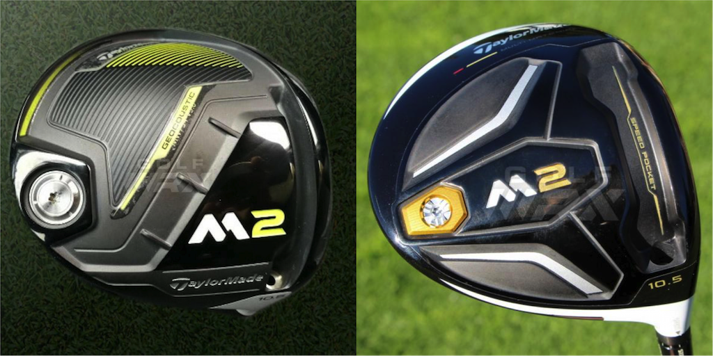 TaylorMade's 2016 M2 driver (right)