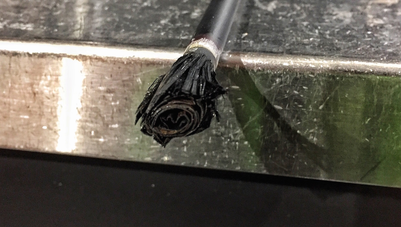 This is what happens to a graphite shaft when overheated.
