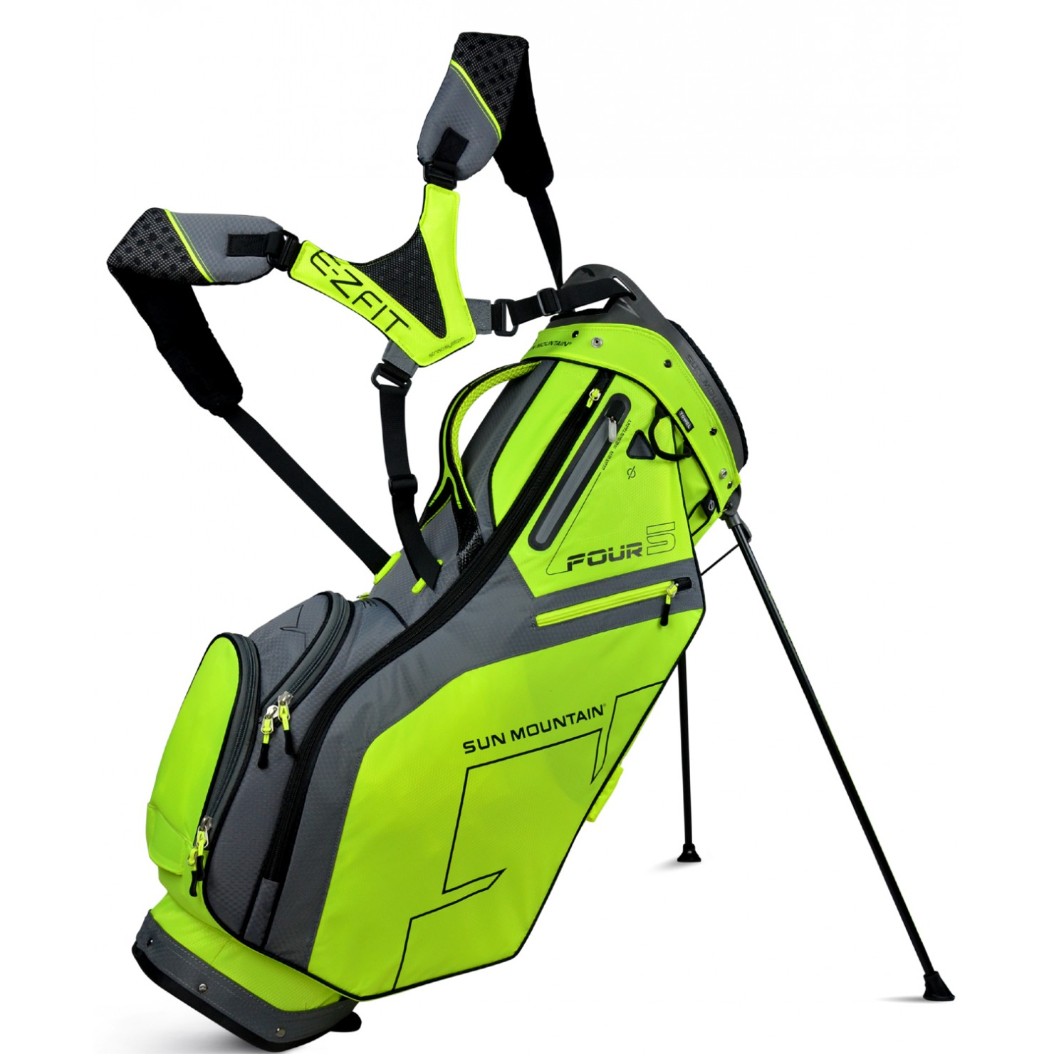 Cart Bag Neon Sun Mountain Four 5 Stand Gunmetal Flash