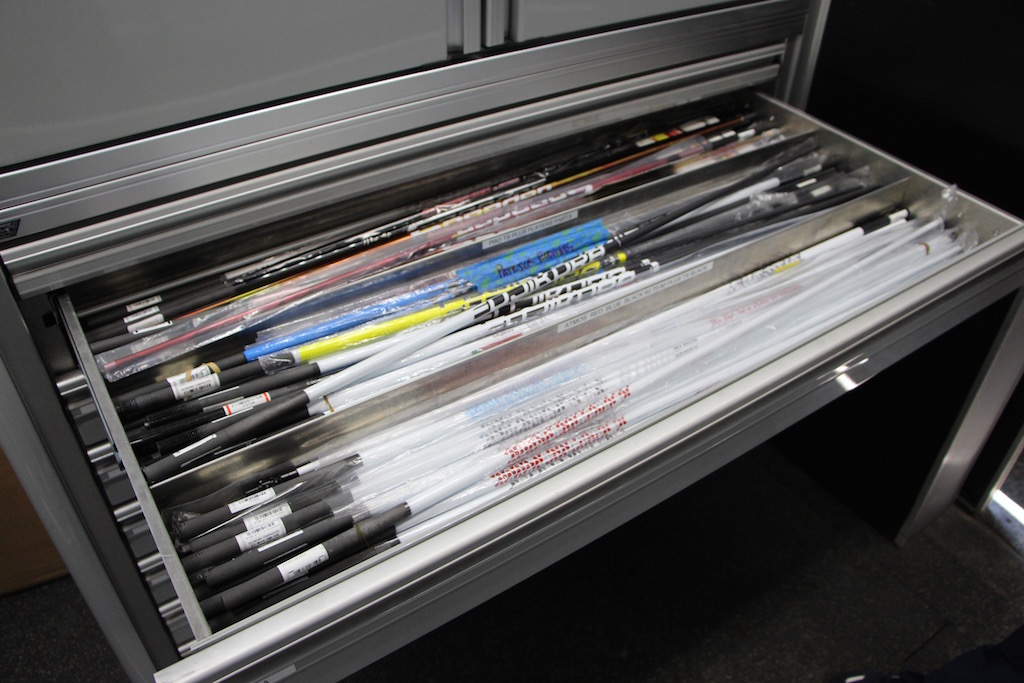 There are two drawers of Fujikura shafts on TaylorMade's Tour Truck.