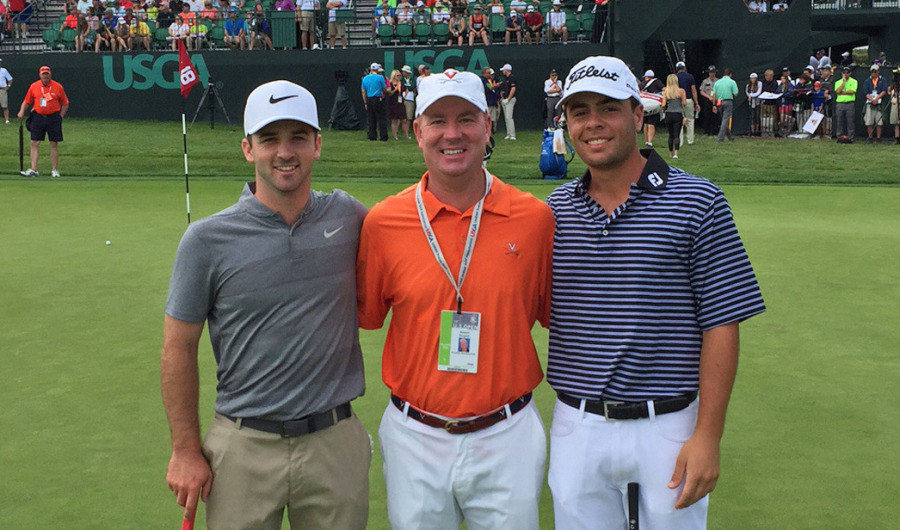 Coach Bowen Sargent of UVA, along with former players Denny McCarthy and Derek Bard at the US Open