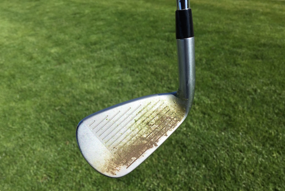 When testing equipment, it helps to clean your clubs in between shots. It also helps a tech rep!