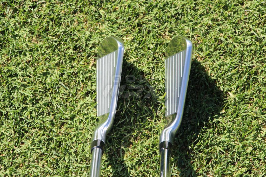At Address: Titleist's 718  T-MB (left) and AP3 irons.