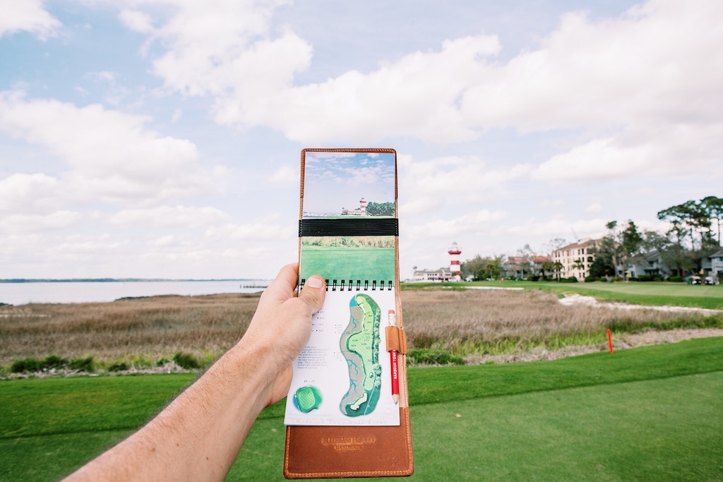 Bluegrass Fairway Yardage Book Cover at Harbour Town Golf Links.