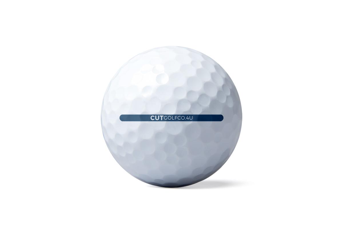 Cut Blue golf ball - putter line