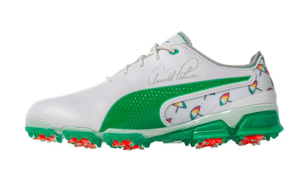 a2a491c1893 The Arnold Palmer Ignite shoes feature the signature Umbrella logo in a  repeating pattern on the heel and interior of the shoe and also contain the  King's ...
