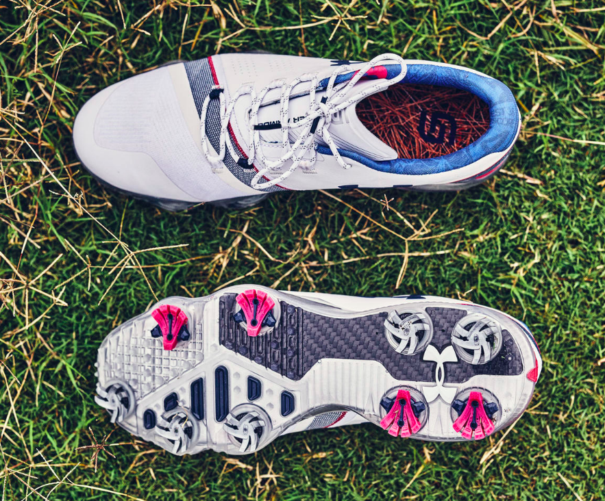 The collar lining of the special edition Spieth 3.0 golf shoe pays homage  to Spieth s victory at Augusta in 2015 and features his record tying score  of -18 b433f5f41